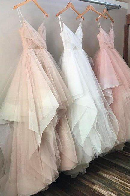 A Line Tulle Evening Prom dresses, Custom Long Party Prom Dresses, Simple prom dresses, 2017 Prom Dresses, 17083