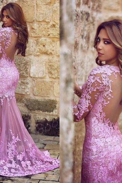 Long sleeve Lace prom dress, Lilac Mermaid Prom dresses, Long prom dresses, 2017 prom dresses, prom dresses online, 17082