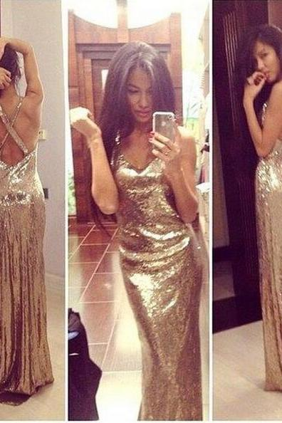 Gold sequin prom dresses, backless prom dresses, prom dresses 2017, cheap prom dresses, long prom dresses, prom dresses 2017, 17133
