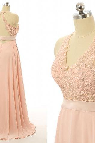 Peach bridesmaid dresses, Lace bridesmaid dresses, backless bridesmaid dresses, sexy bridesmaid dresses, cheap prom dress, 17506