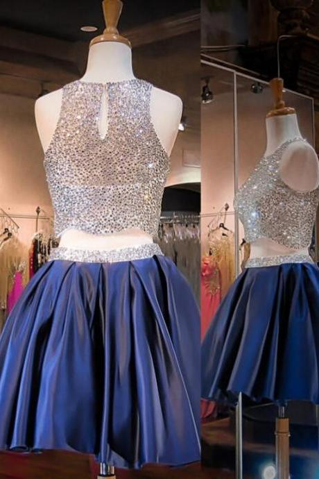Sexy two pieces Homecoming dresses, Beaded homecoming dresses, Short homecoming dress, Halter homecoming dresses, dresses for homecoming, 17600