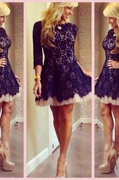 Long sleeve lace Homecoming dresses, Dark Purple Modest homecoming dress, junior homecoming dresses, cheap homecoming dress, 17602