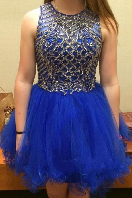 Royal blue Homecoming dresses, Beaded 2017 homecoming dresses, cheap homecoming dress, tulle homecoming dresses, dresses for homecoming, 17606