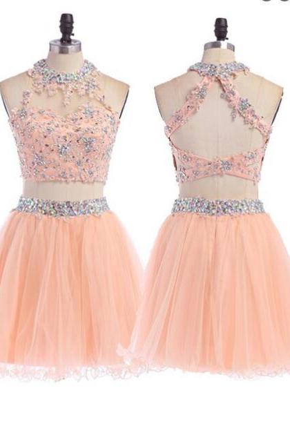 Peach Homecoming dress, 2 pieces homecoming dress, short homecoming dress, Sexy homecoming dress, dresses for homecoming, 17610