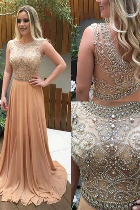 See through beaded prom dress, Long Champagne prom dresses, Custom prom dresses, prom dresses shop, Cheap prom dresses, 271091