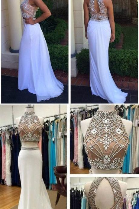 New Fashion Elegant Two Piece White Long Beads Prom Dress Evening Dress Sparkly Evening Formal Gowns