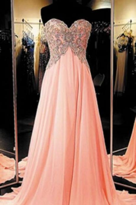 New Style Long Chiffon Coral Prom Dress Elegant Prom Dresses Elegant Prom Dress Prom Dress Cheap Prom Dresses Senior Formal Dress For Teens