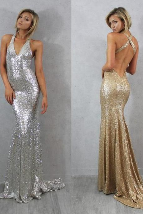sequin prom dress, glittery prom dress, sparkle prom dress, backless mermaid prom dresses, 2017 prom dress, BD15862
