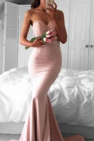 long prom dress, pink prom dress, mermaid long prom dress,2017 prom dress, bridesmaid dress