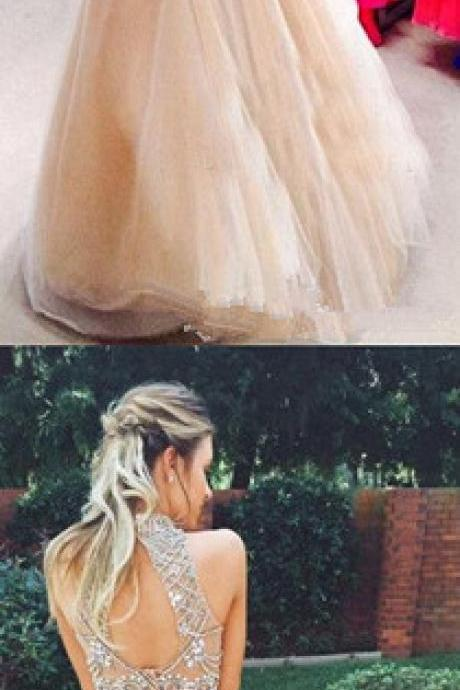 2017 New Style Prom Dresses Sexy 2 Piece silver beaded bodice High Neck Tulle Skirts Champagne Prom Dress for spring teens