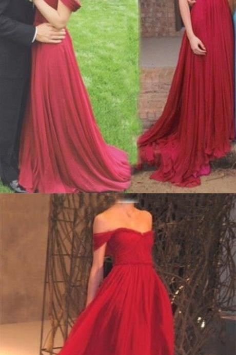 New Arrival Red Chiffon Prom Dress,Charming A-Line Off-the-Shoulder Floor Length Red Prom/Evening Dress with Ruched