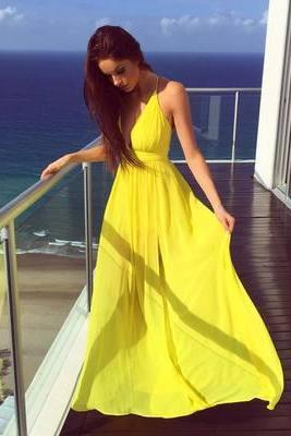 New Arrival Yellow Chiffon Prom Dress,Prom Gown Dress,Evening Formal Gown,Long Prom Dress