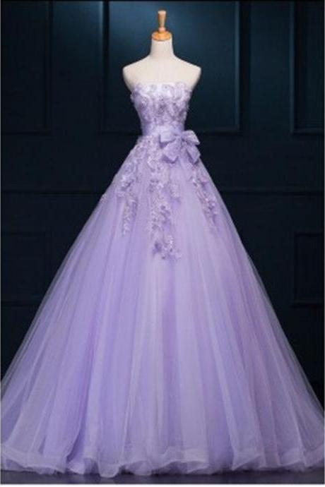 New Fashion Ball Gown Princess Tulle Lilac Prom Dresses With Flowers lace long Evening Dress