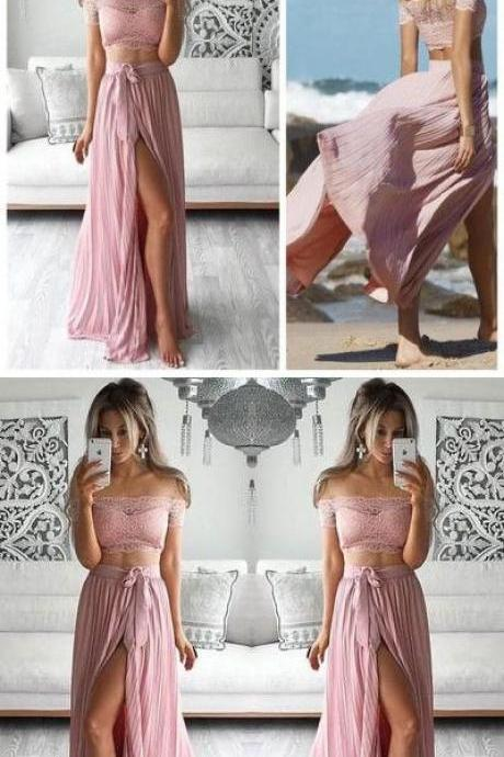 Two Piece Prom Dresses Lace Top Off the Shoulder Short Sleeves Thigh-High Slit Sexy Evening Gowns