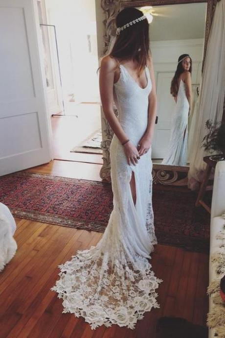 Romantic Boho Wedding Dresses Backless Lace Skirt Mermaid Elegant White Wedding Gowns