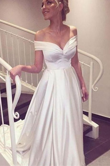 Elegant V-neck Cap Sleeves Satin Wedding Dress Bride Gown,wedding dresses 2017,satin wedding dresses,modest wedding dresses
