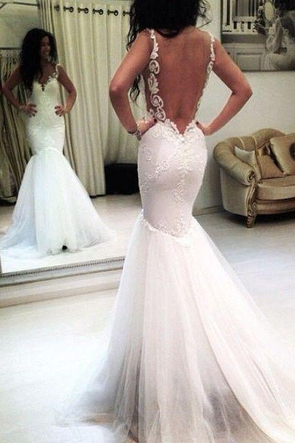 Elegant Straps Mermaid Wedding Dress Backless,backless wedding dresses,modest wedding dresses