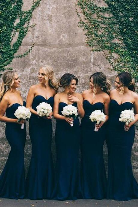 Gorgeous Mermaid Long Navy Blue Strapless Bridesmaid Dress