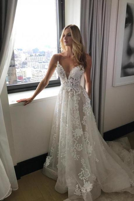 Gorgeous Straps A-line White Long Wedding Dress with Train