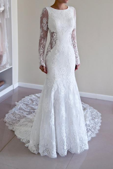 Mermaid Long Sleeves White Lace Wedding Dress