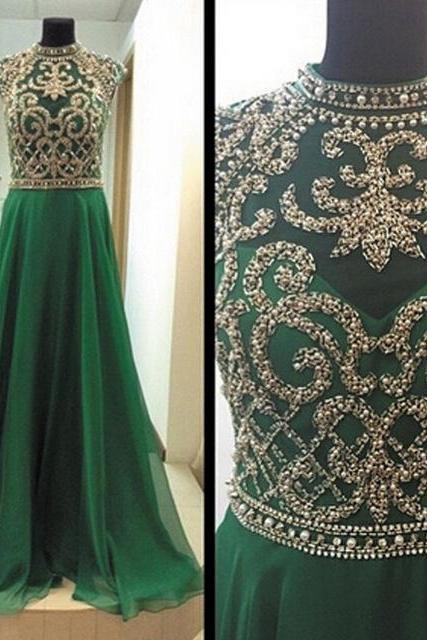 Luxurious High Neck Beads Hunter Green Long Chiffon Prom Dress