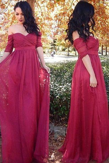 Elegant Half Sleeves Long Prom Dress Materity Prom Dress