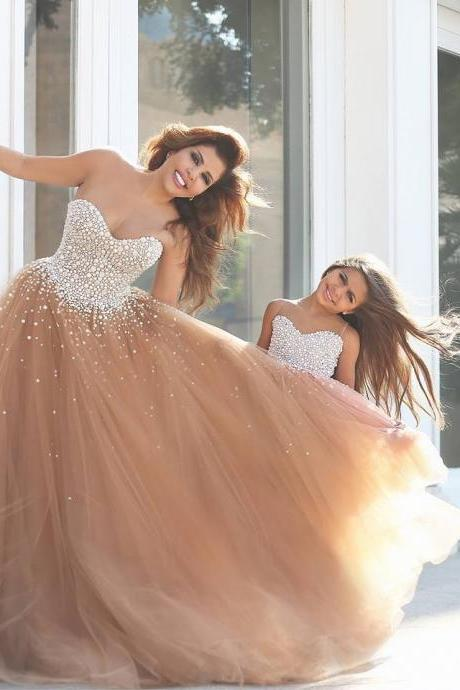 Sweetheart Long Pearls Champagne Mother&Daughter's Dress