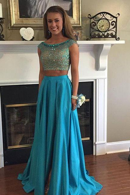 Two Piece Beads Cap Sleeves Long Blue Prom Dress Evening Dress