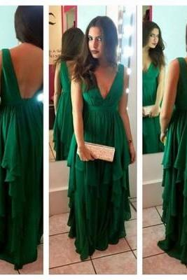 Elegant V-neck Long Chiffon Green Prom Dress Evening Dress