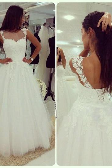 Gorgeous A-line White Lace Long Wedding Dress