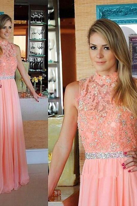 Elegant A-line High Neck Coral Long Chiffon Prom Dress Evening Dress