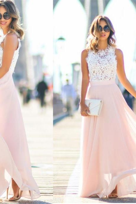 Elegant A-line Long Pink Chiffon Prom Dress with White Lace Top
