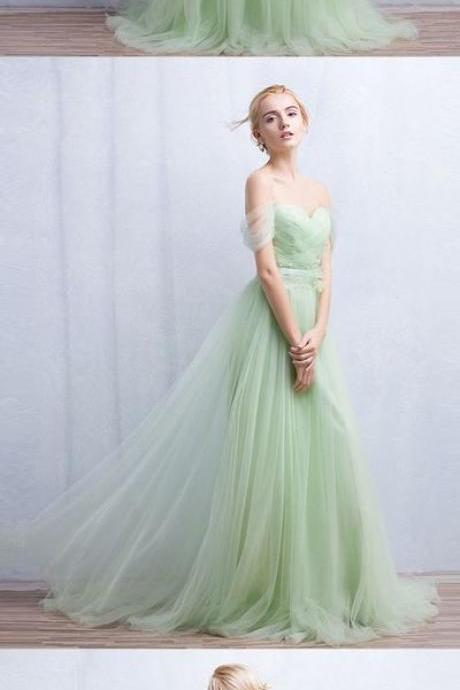 Mint Green Tulle Prom Dress,Long Prom Dresses,Cheap Prom Dresses,Evening Dress Prom Gowns, Custom Made Formal Women Dress