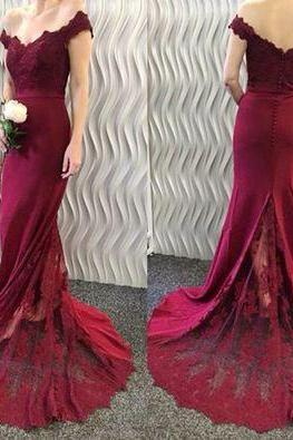 Gorgeous Off the shoulder Mermaid Red Long Prom Dress Wedding Party Dress