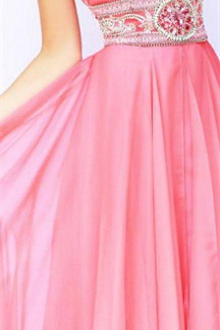 Modest Prom Dress,New Prom Dress ,Long Prom Dresses,Blush Pink Beaded Evening Dress,Sexy Evening Dresses