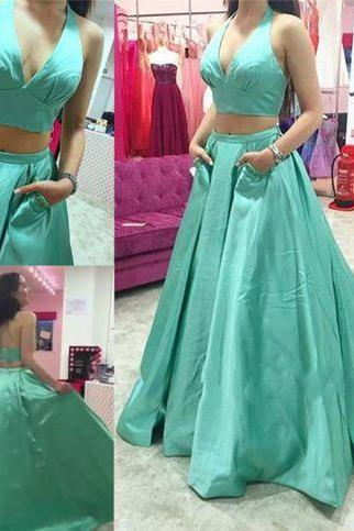 Elegant Two Piece V-neck Long Prom Dress Ball Gown