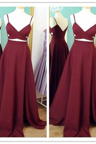 Two Piece Straps Burgundy Long Prom Dress Evening Dress,Spaghetti Straps Wine Red Prom Gowns