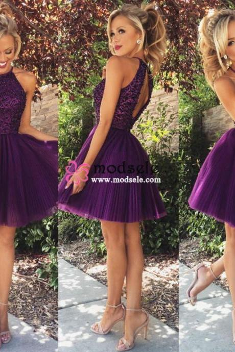 Short Halter Purple Homecoming Dress with Open Back