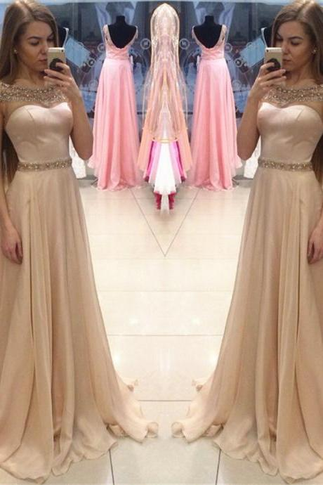Elegant A-line Beads Cap Sleeves Long Prom Dress with Train