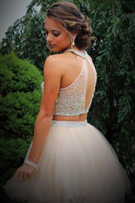 Cute Two piece Short Light Peach Homecoming Dress with Open Back