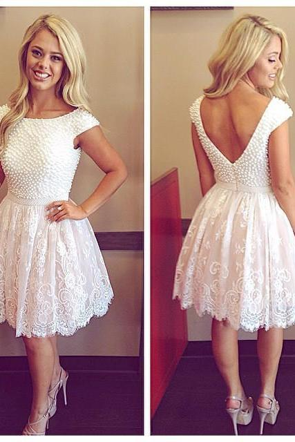 Gorgeous A-line Short Lace Homecoming Dress with Pearls