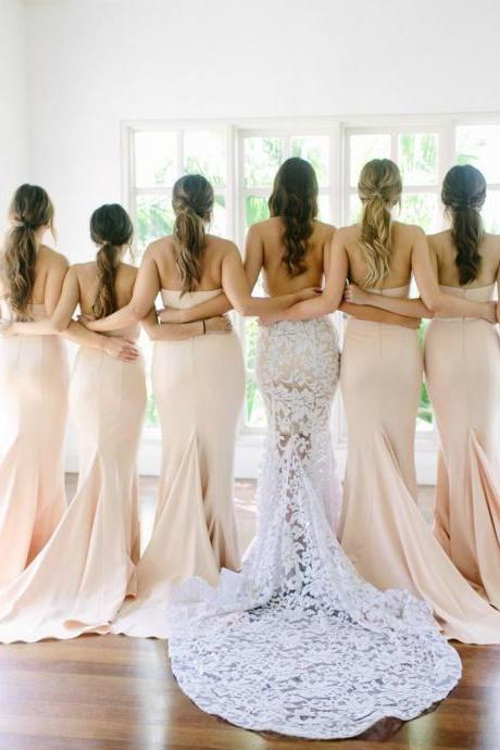 Sexy Strapless Mermaid Long Light Peach Bridesmaid Dress