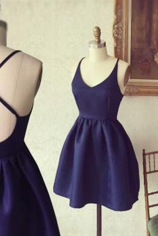 Simple Short A-line Navy Blue Homecoming Dress with Criss Cross Back