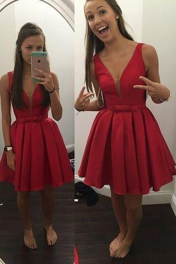 Inexpensive A-line Short Red Homecoming Dress with Ribbon