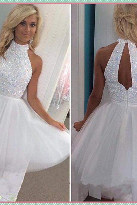 Cute A-line White Tulle Homecoming Dress with Open Back High Neck