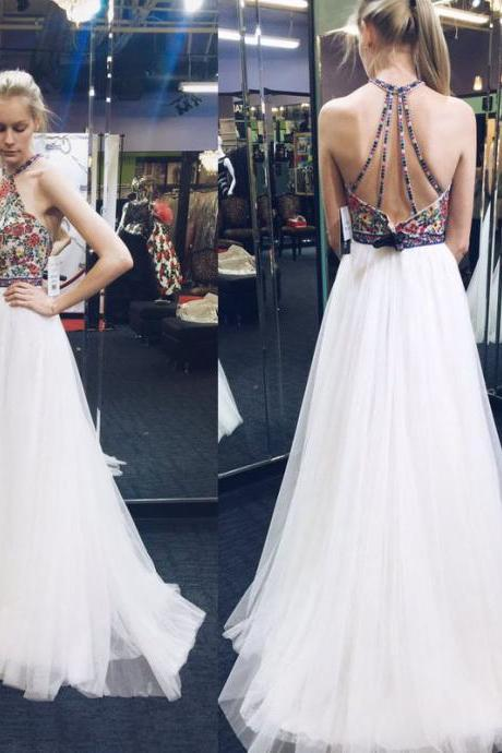 Sexy Floral White Long Tulle Prom Dress