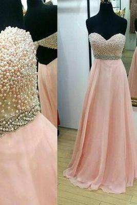 Custom Made Pink Strapless Sweetheart Neckline Pearl Embellished Evening Dress, Prom Dress