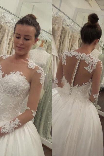 Elegant White Long Sleeves Lace Appliques Wedding Dress