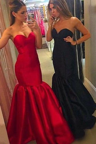 Elegant Strapless Mermaid Red/Black Long Prom Dress Evening Dress
