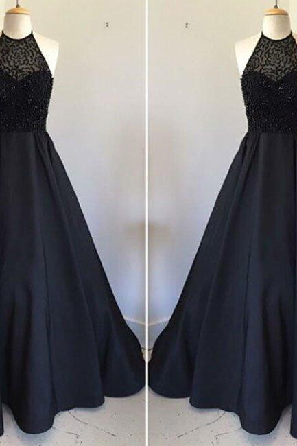 Black Long 2017 Prom Dress, Long Black Beads Prom Dress